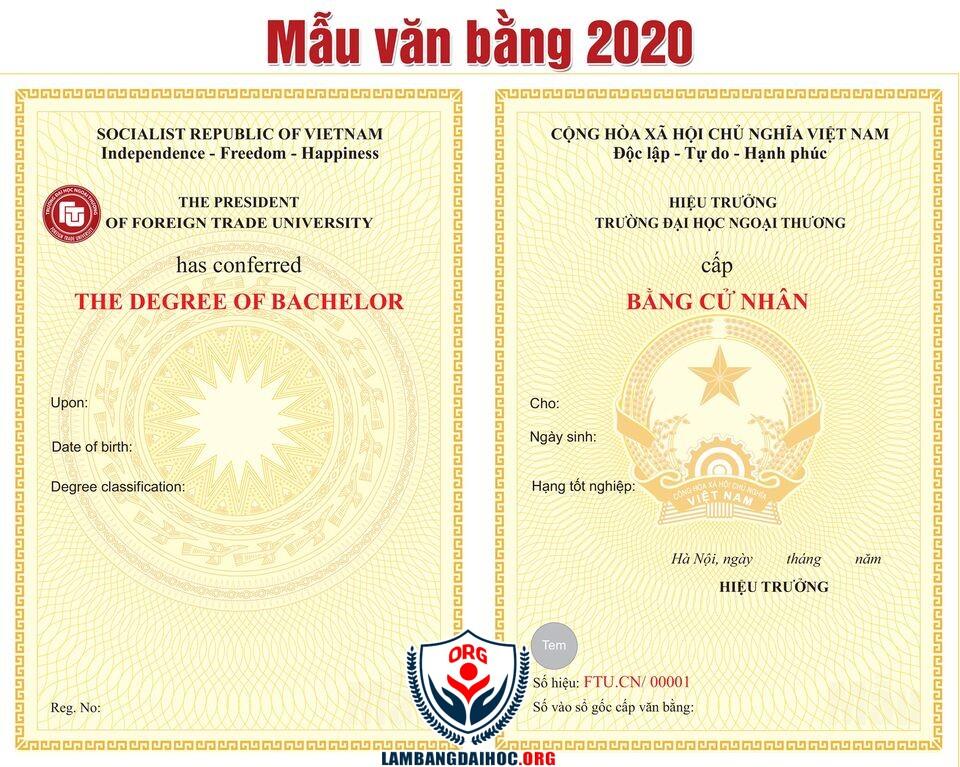 Phôi bằng tốt nghiệp đại học năm 2020